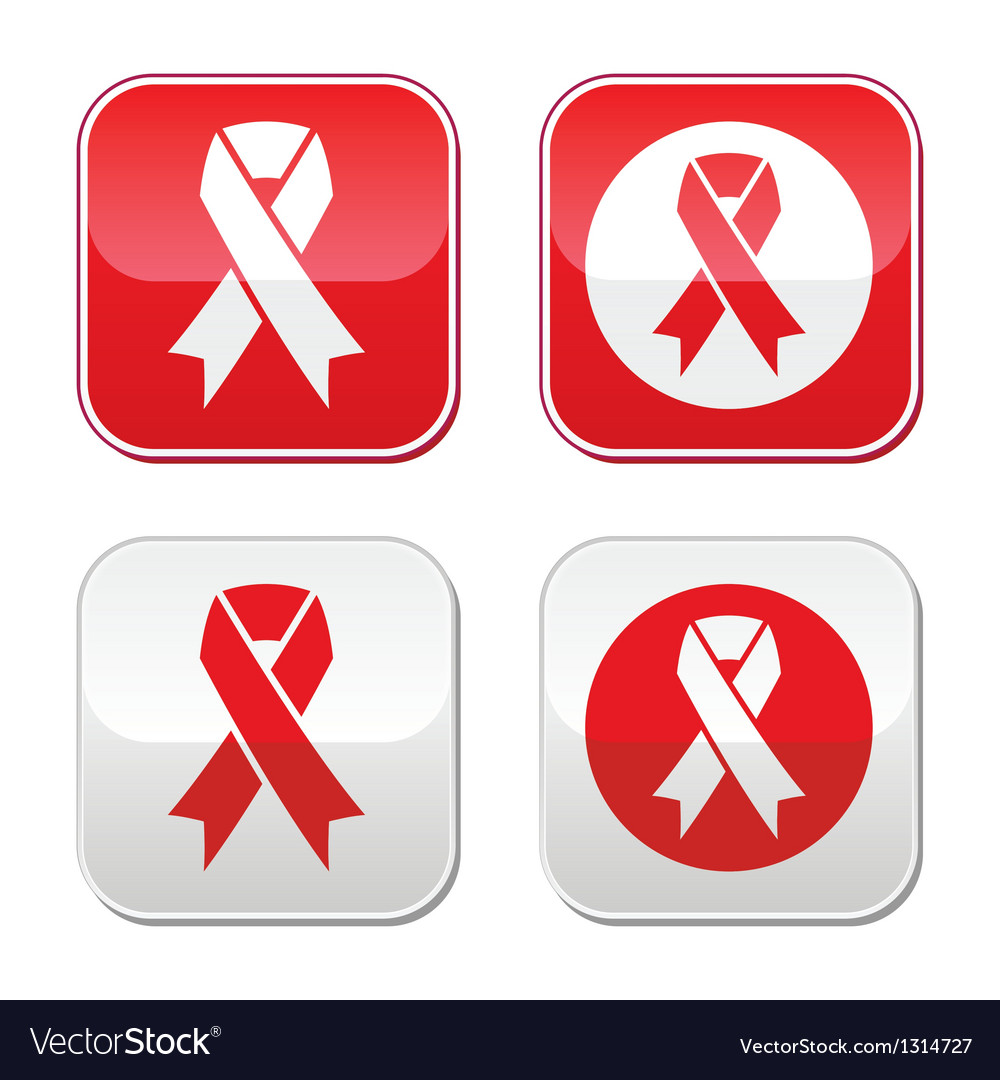 Red ribbon - aids hiv heart disease signs vector | Price: 1 Credit (USD $1)