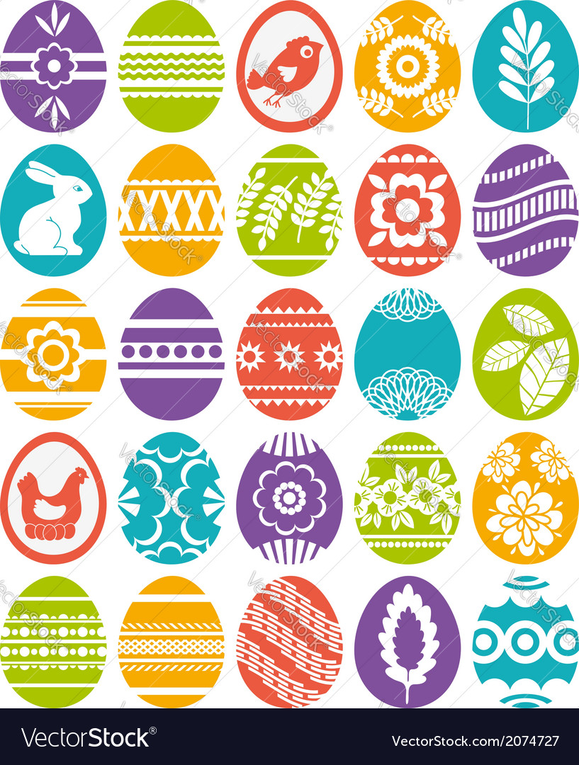 Set of colour easter eggs vector | Price: 1 Credit (USD $1)