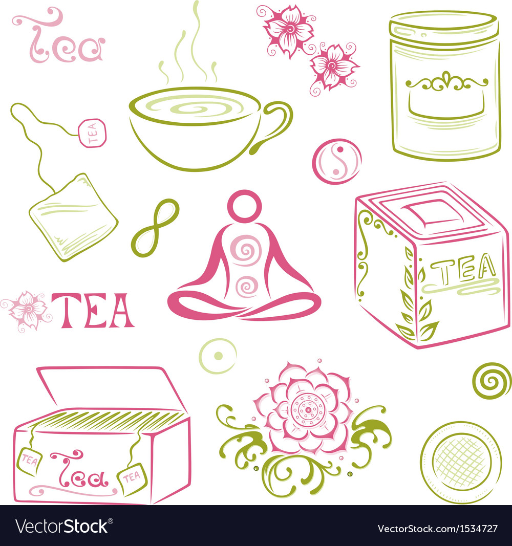 Tea asian cherry blossom vector | Price: 1 Credit (USD $1)