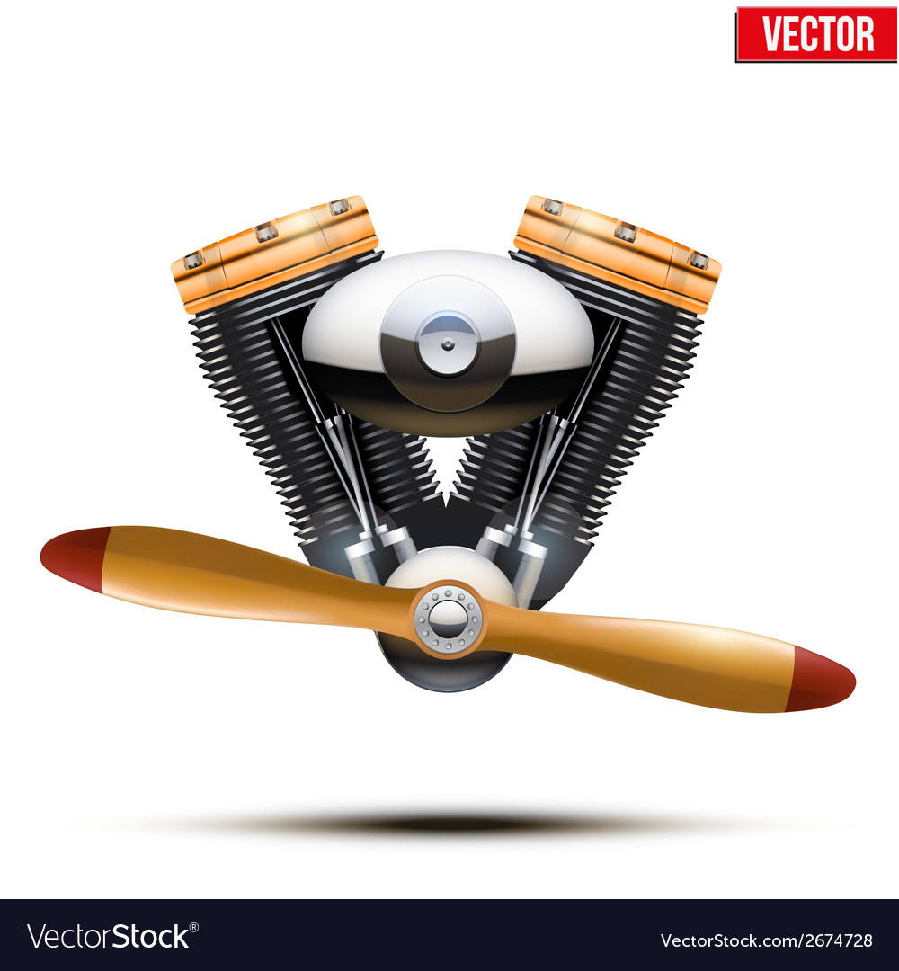 Aircraft engine with propeller vector | Price: 1 Credit (USD $1)