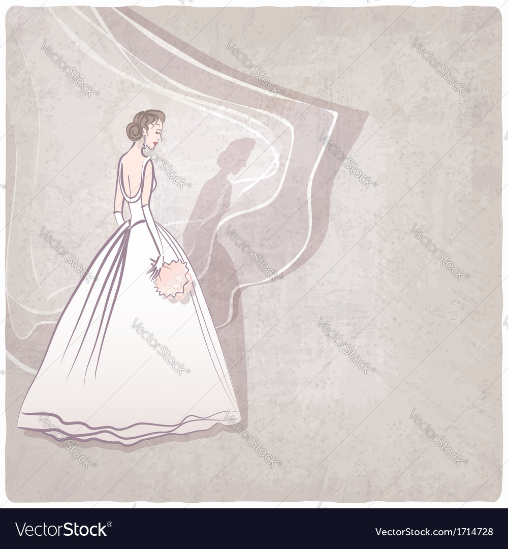Bride in wedding dress on grungy background vector | Price: 1 Credit (USD $1)