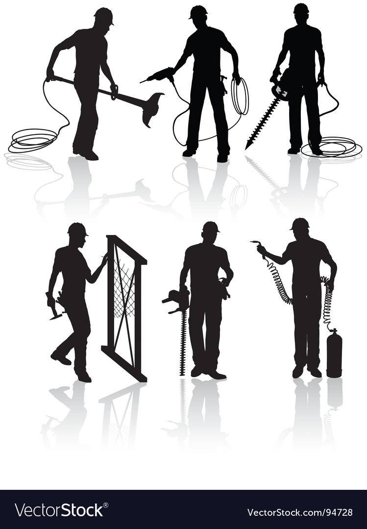 Construction workers silhouettes vector | Price: 1 Credit (USD $1)