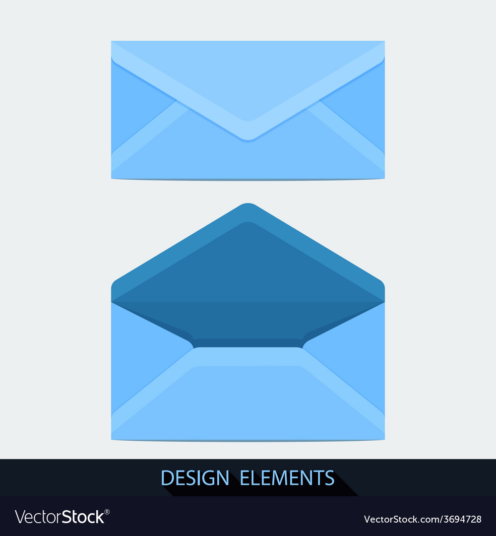 Design of both open and closed envelope in flat vector | Price: 1 Credit (USD $1)
