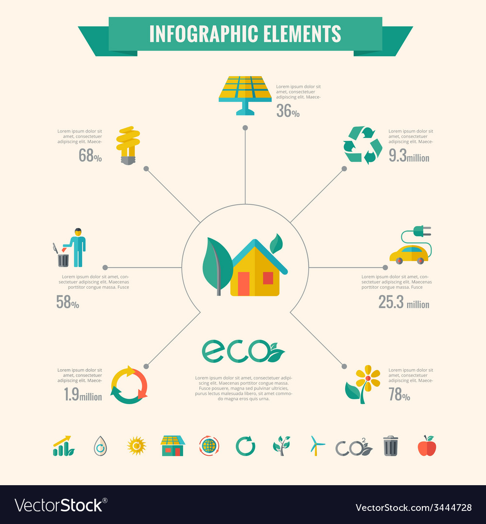 Ecology infographic elements vector | Price: 1 Credit (USD $1)