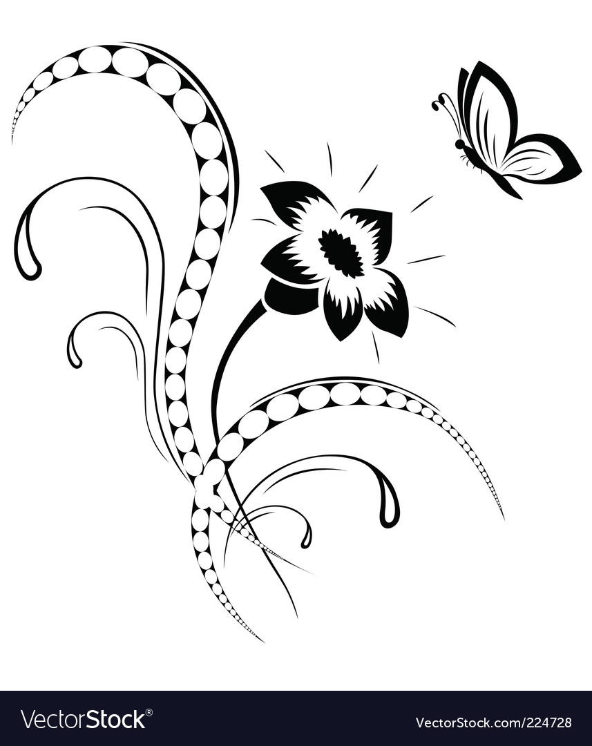 Flower pattern tattoo vector | Price: 1 Credit (USD $1)