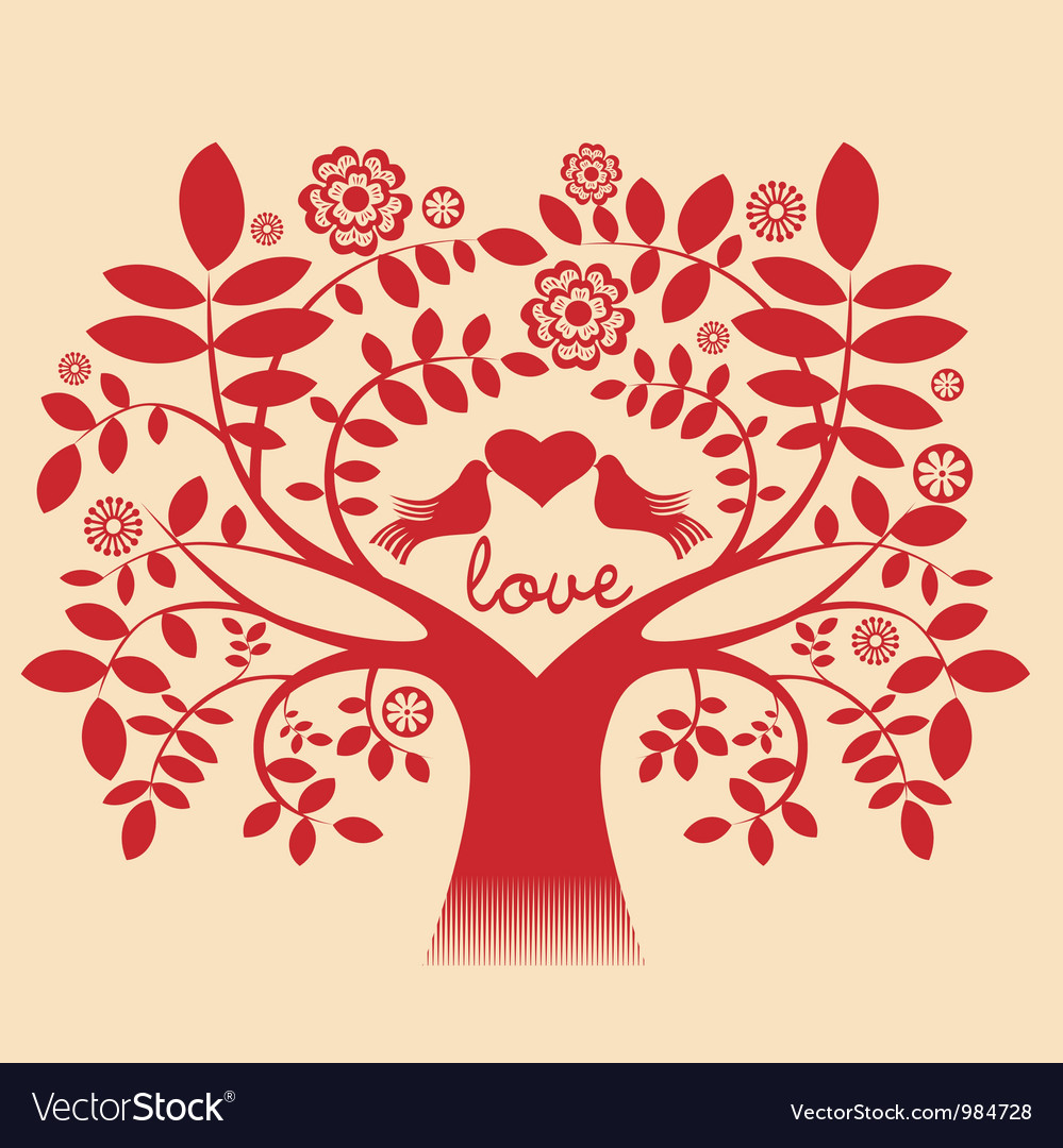 Love tree red color vector | Price: 1 Credit (USD $1)