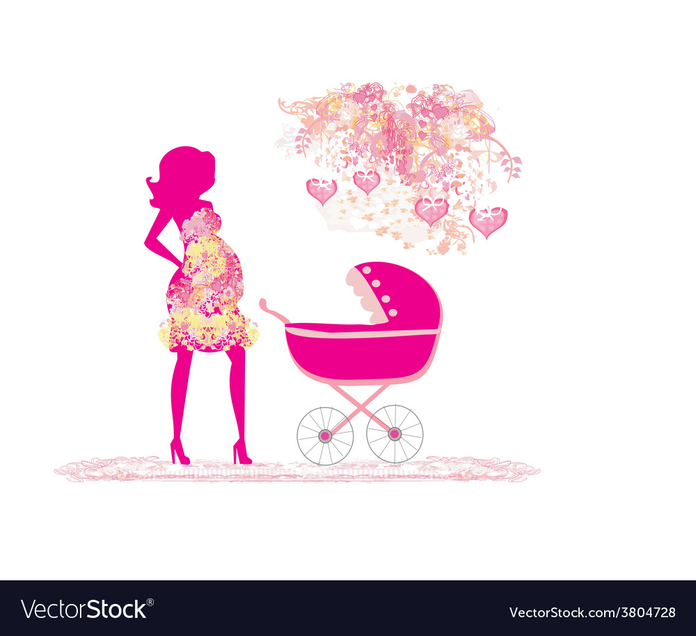 Mother with baby stroller vector | Price: 1 Credit (USD $1)