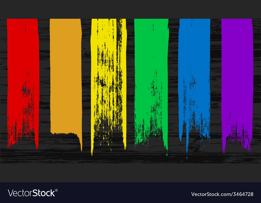 Set of 6 colorful rainbow brush stroke elements fo vector | Price: 1 Credit (USD $1)