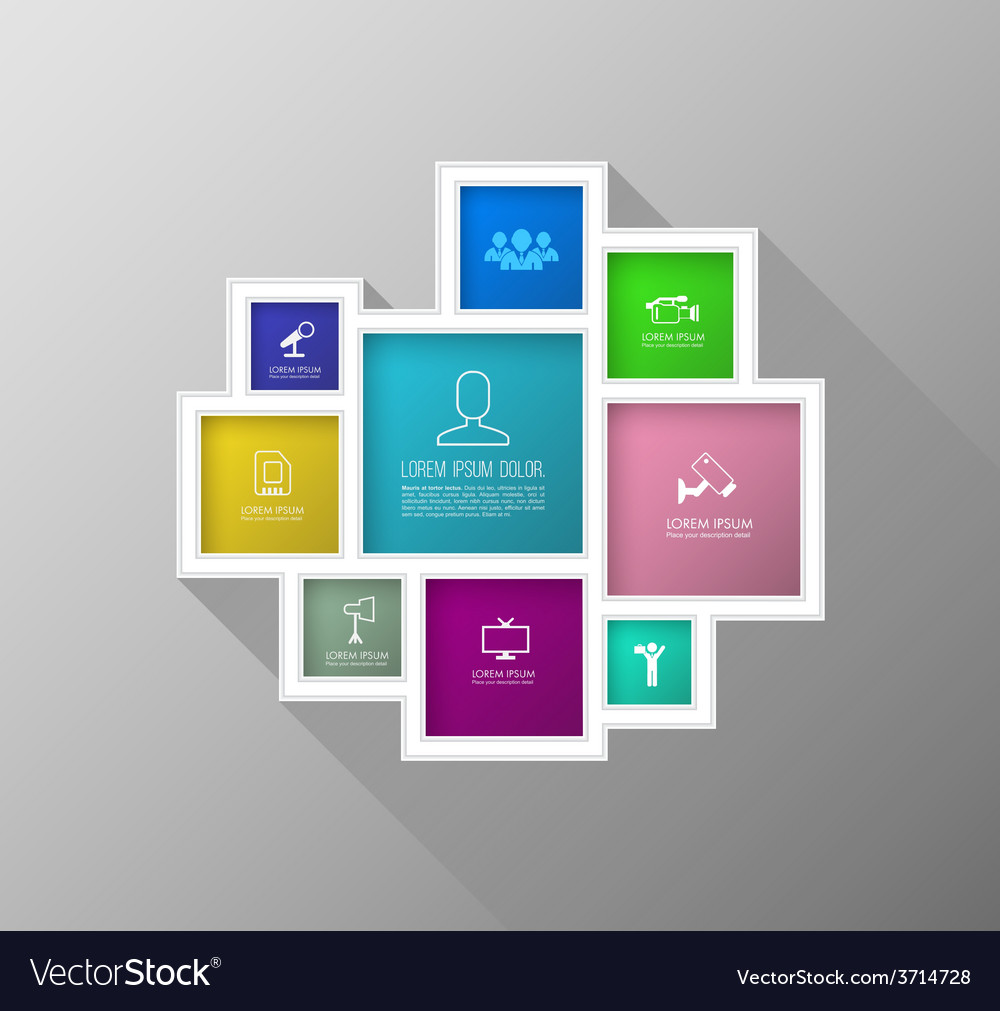Square colour group with icons number for brochure vector | Price: 1 Credit (USD $1)