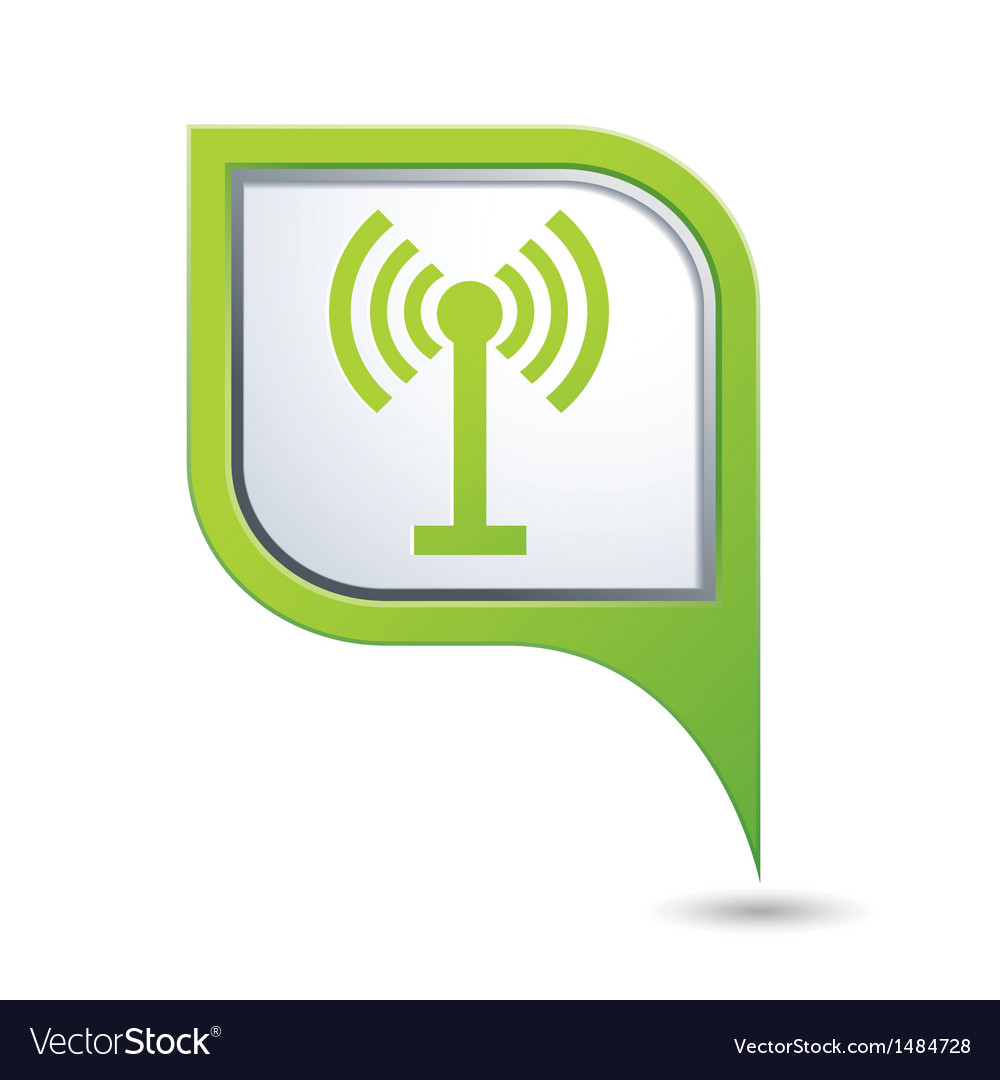 Wi fi icon on green pointer vector | Price: 1 Credit (USD $1)