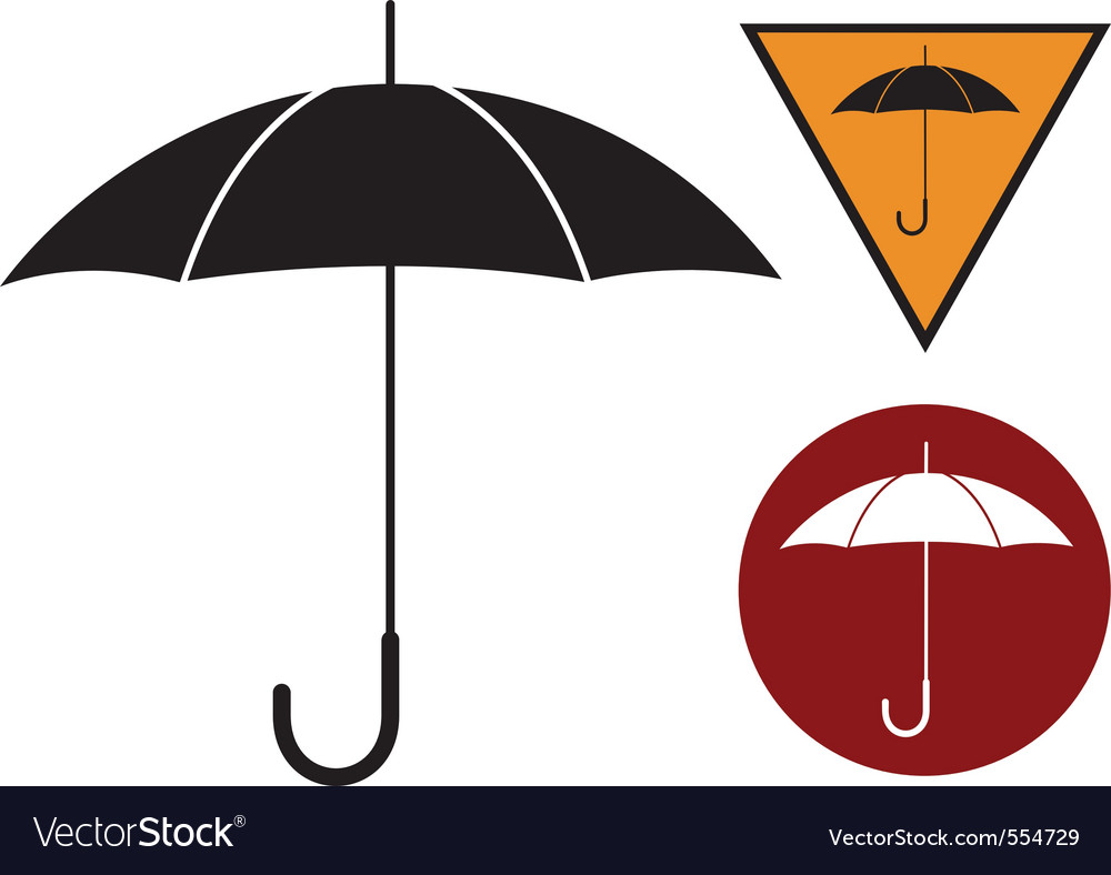 Black silhouette of umbrella on the white vector | Price: 1 Credit (USD $1)