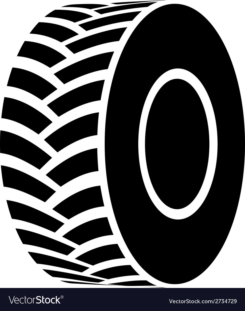 Black tractor tyre symbol vector | Price: 1 Credit (USD $1)