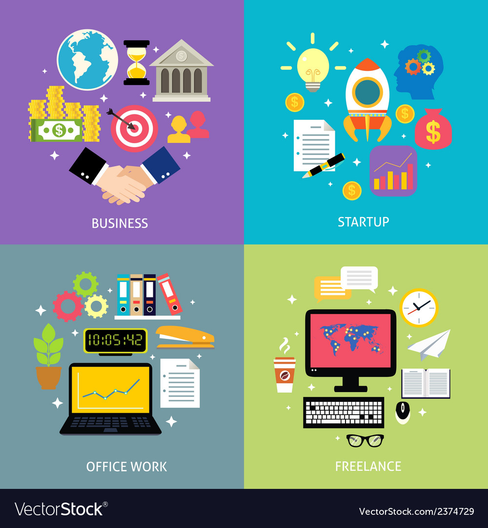 Business types concept flat vector | Price: 1 Credit (USD $1)