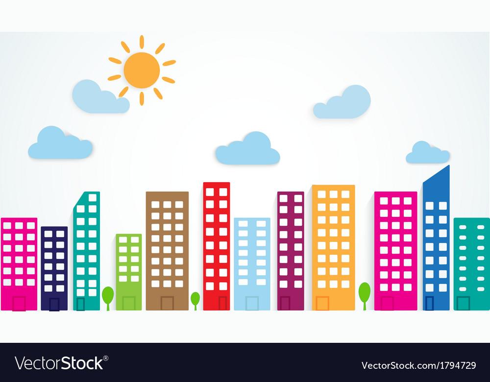 Colorful urban scene vector | Price: 1 Credit (USD $1)