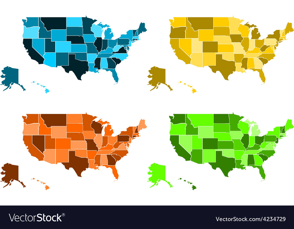 Coloured maps of united states of america vector | Price: 1 Credit (USD $1)