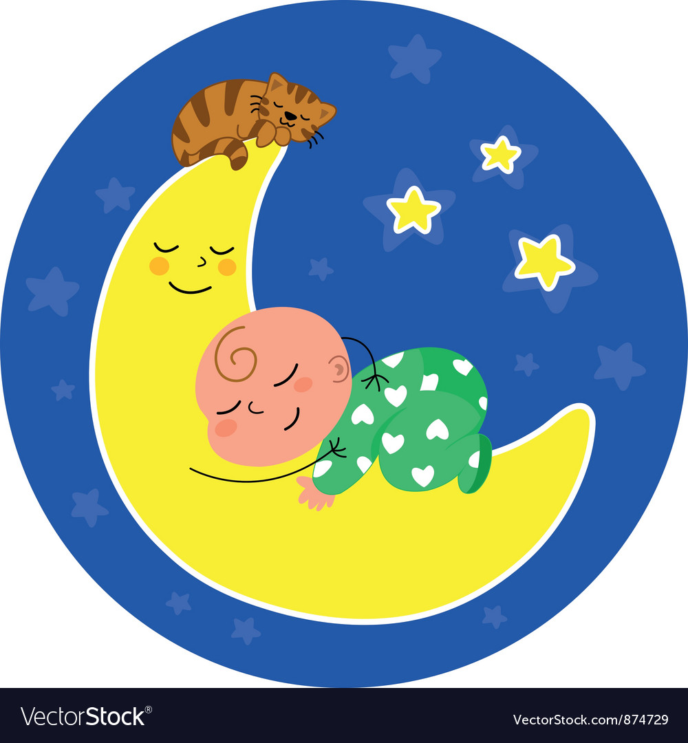 Cute baby sleeping on the moon vector | Price: 1 Credit (USD $1)