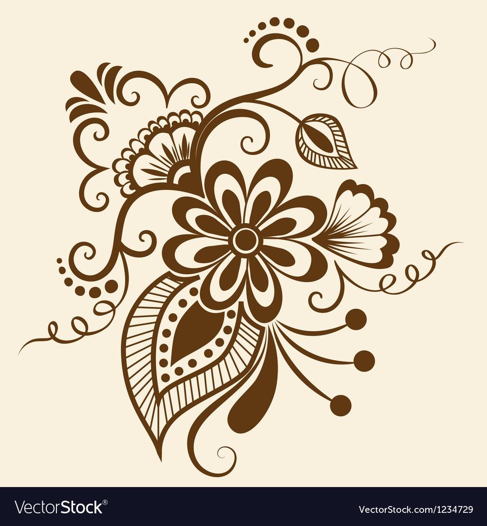 Ethnic mehndi floral pattern vector | Price: 1 Credit (USD $1)