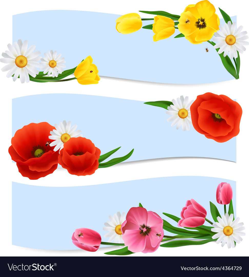 Floral banners horizontal vector | Price: 1 Credit (USD $1)