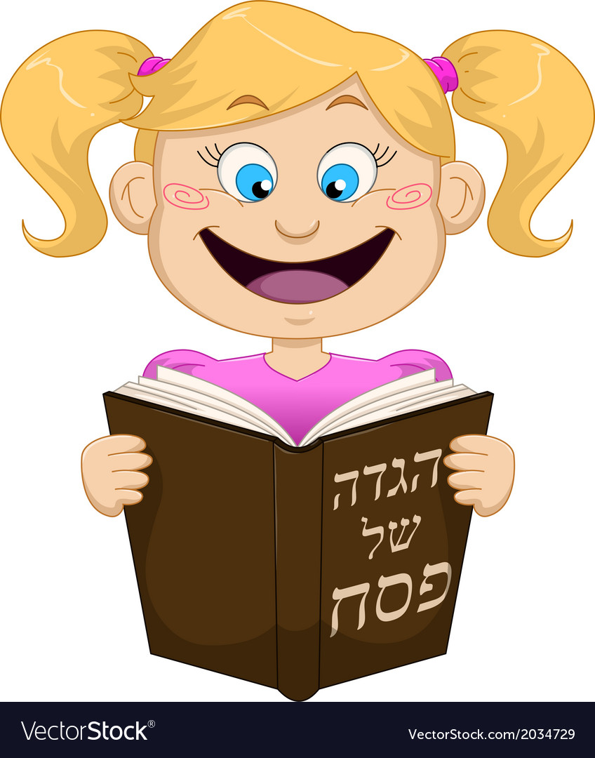Girl reading from haggadah for passover vector | Price: 1 Credit (USD $1)