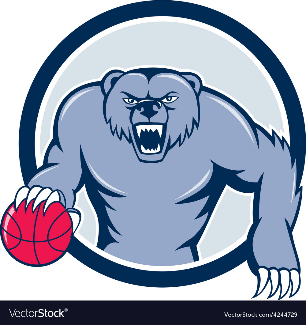 Grizzly bear angry dribbling basketball cartoon vector | Price: 1 Credit (USD $1)