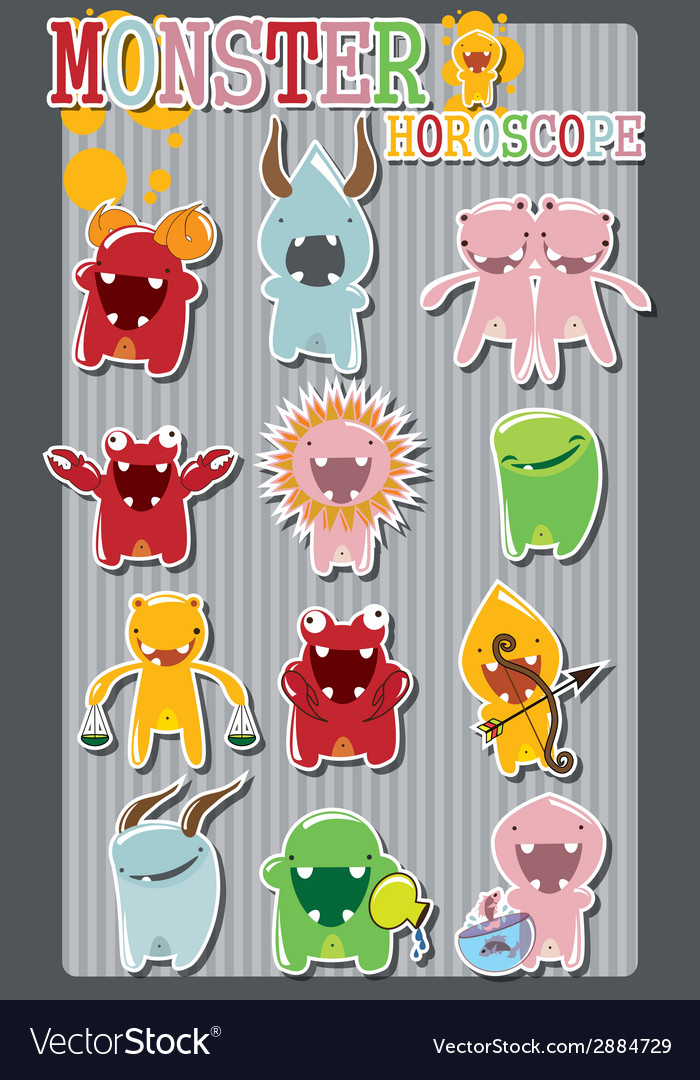 Horoscope signs with cute colorful monsters vector | Price: 1 Credit (USD $1)