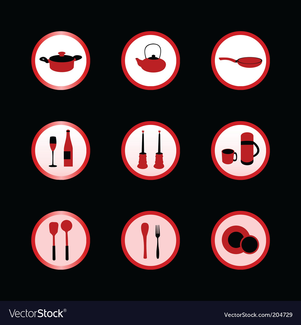 Kitchen icon set vector | Price: 1 Credit (USD $1)