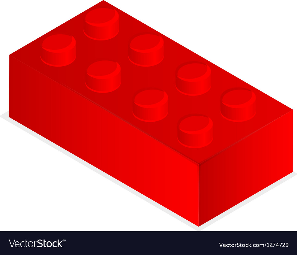 Lego red plastic building block vector | Price: 1 Credit (USD $1)
