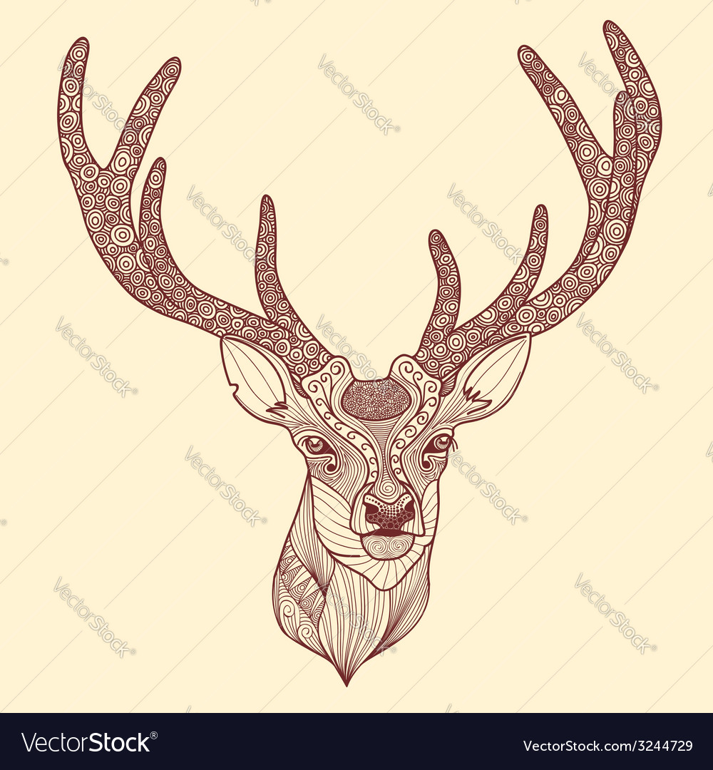 Patterned deer head with big antlers vector | Price: 1 Credit (USD $1)