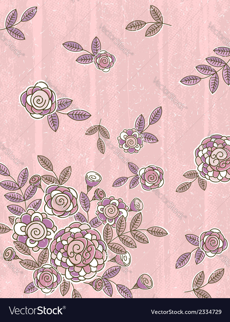 Pink background of hand draw flowers vector | Price: 1 Credit (USD $1)