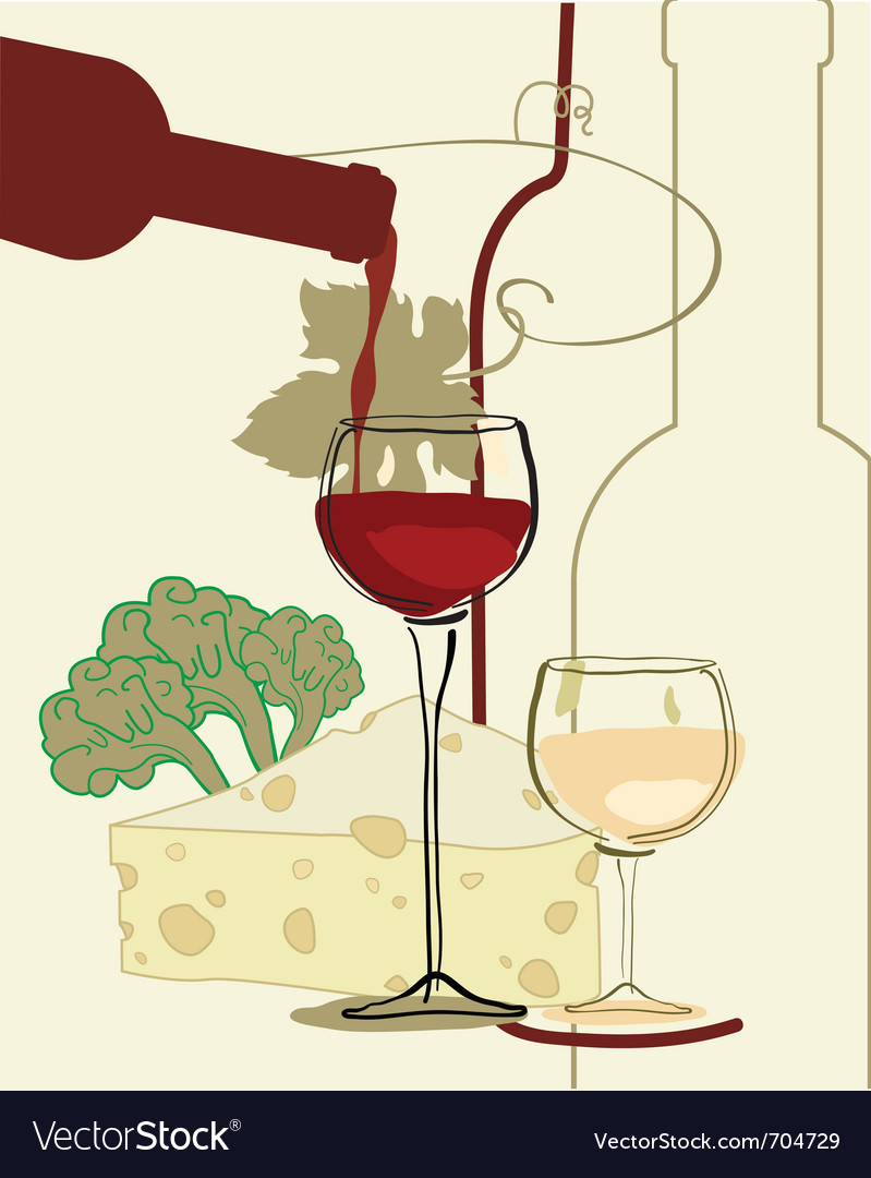 Red wine band glass of wine with cheese vector | Price: 1 Credit (USD $1)
