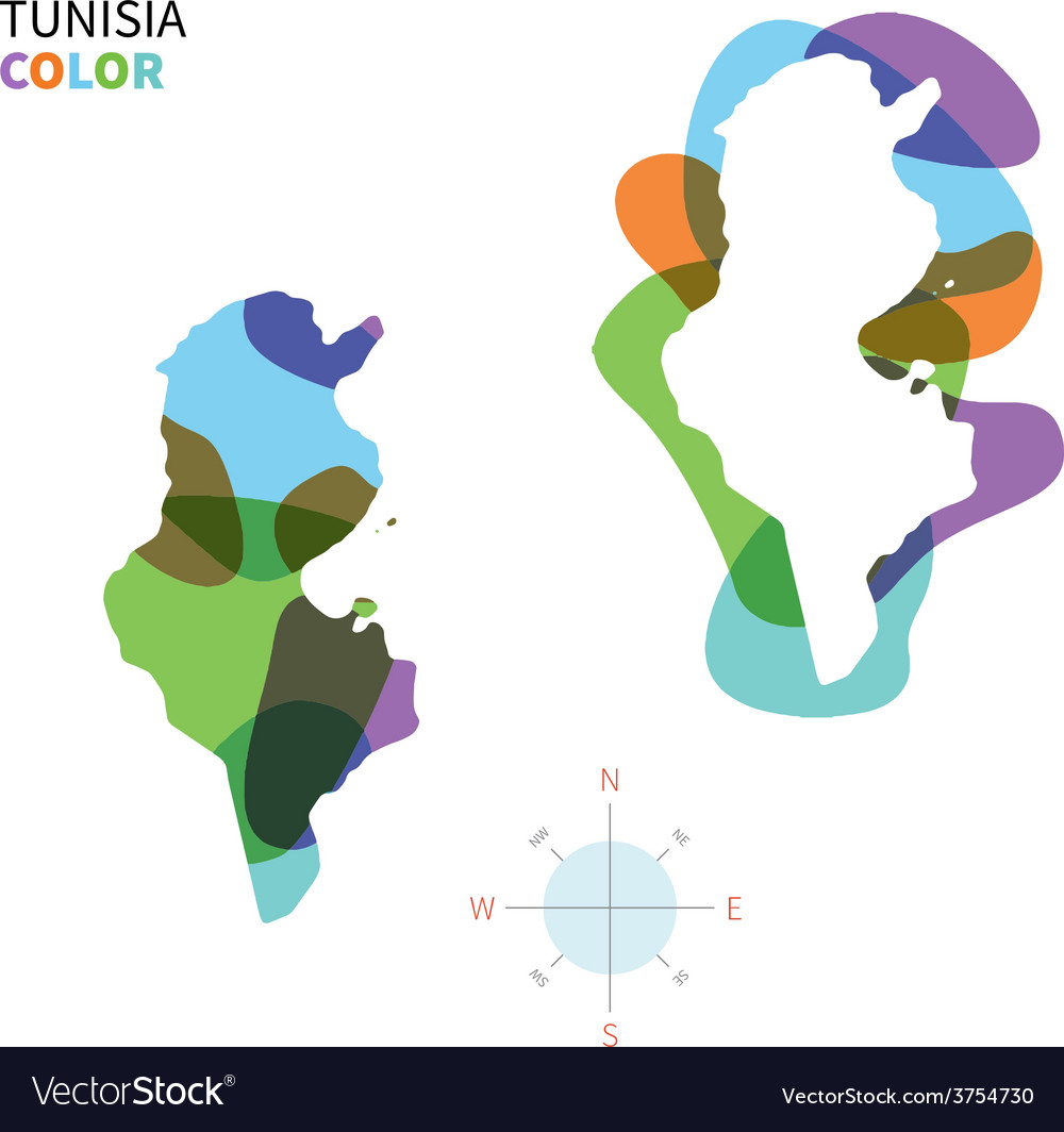 Abstract color map of tunisia vector | Price: 1 Credit (USD $1)