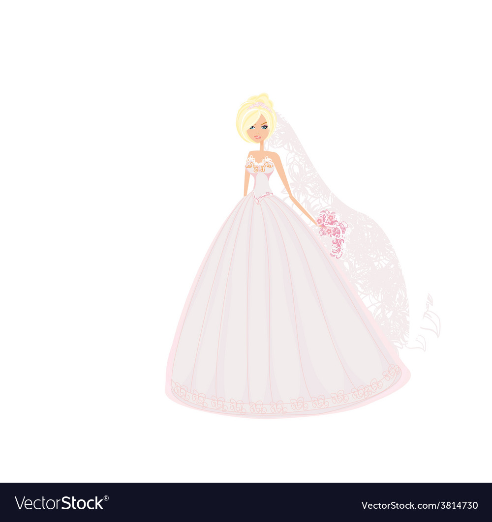 Beautiful blond bride with flowers vector | Price: 1 Credit (USD $1)