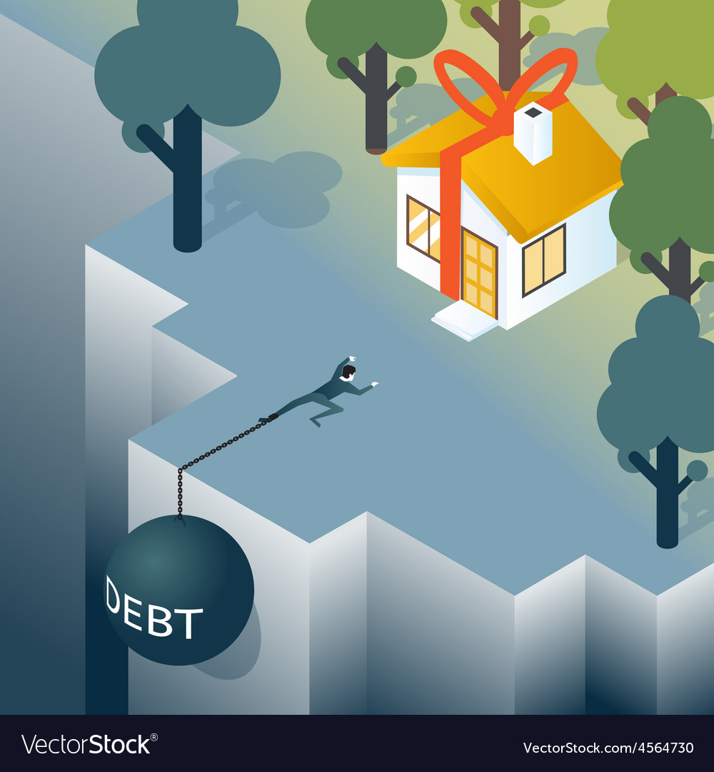 Businessman or consumer with debt weight is vector | Price: 1 Credit (USD $1)