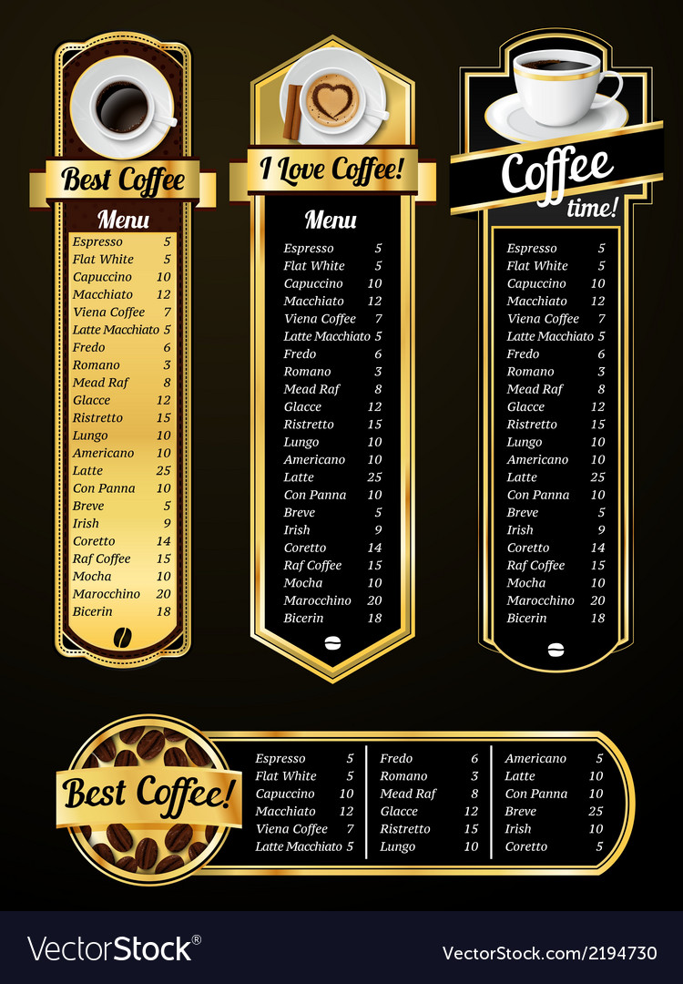 Coffee menu templates vector | Price: 1 Credit (USD $1)