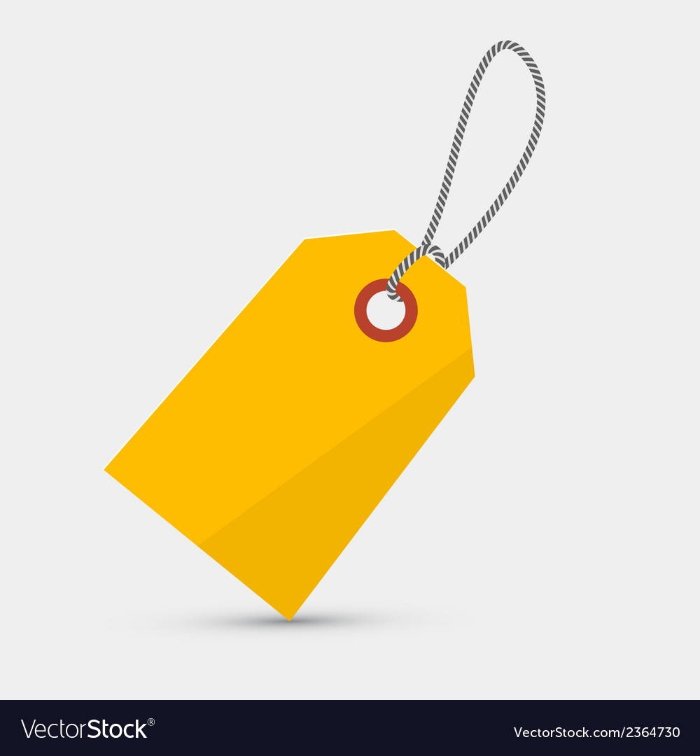 Empty yellow label tag with string vector | Price: 1 Credit (USD $1)