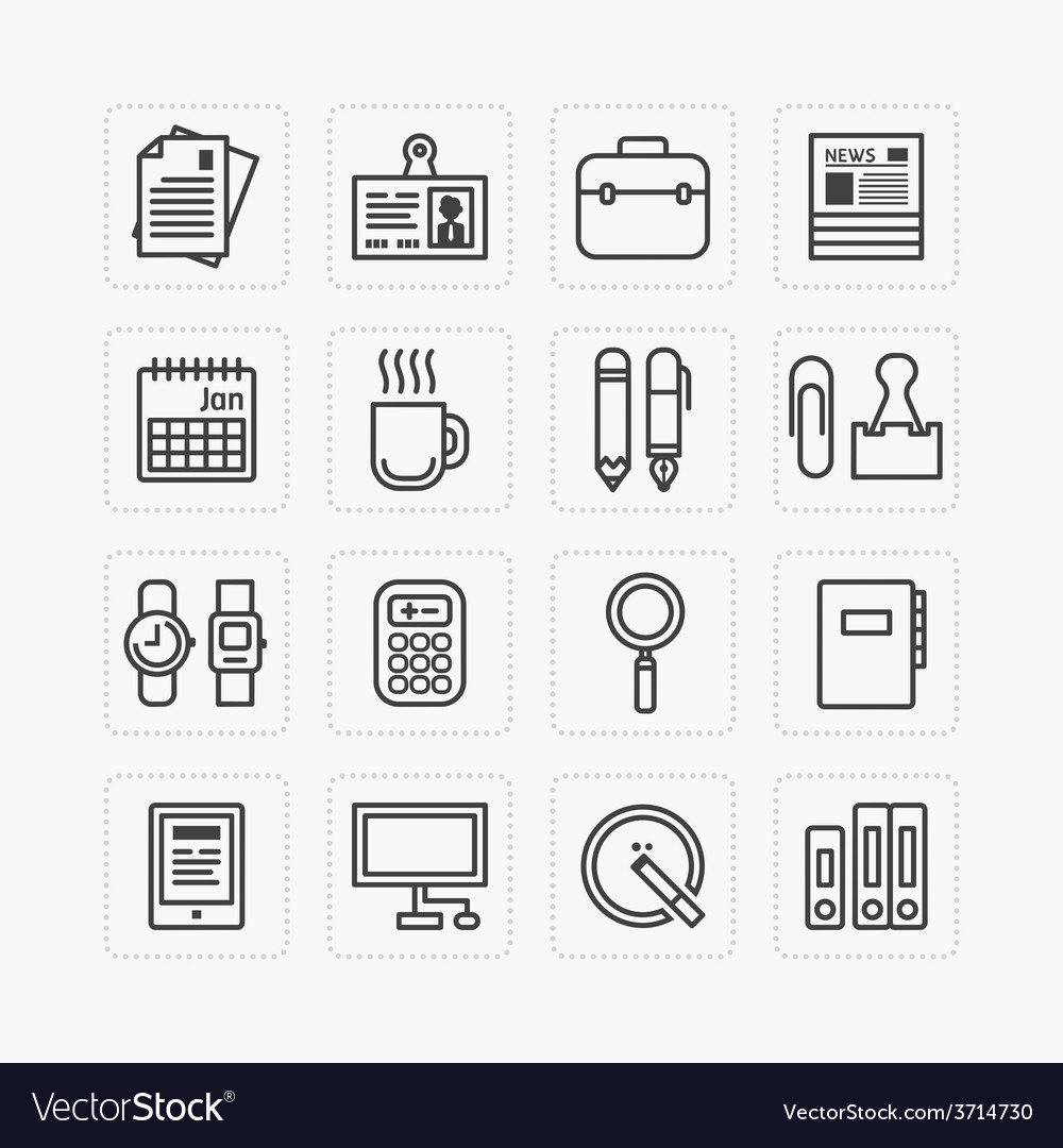 Flat icons set of business office tools outline vector | Price: 1 Credit (USD $1)