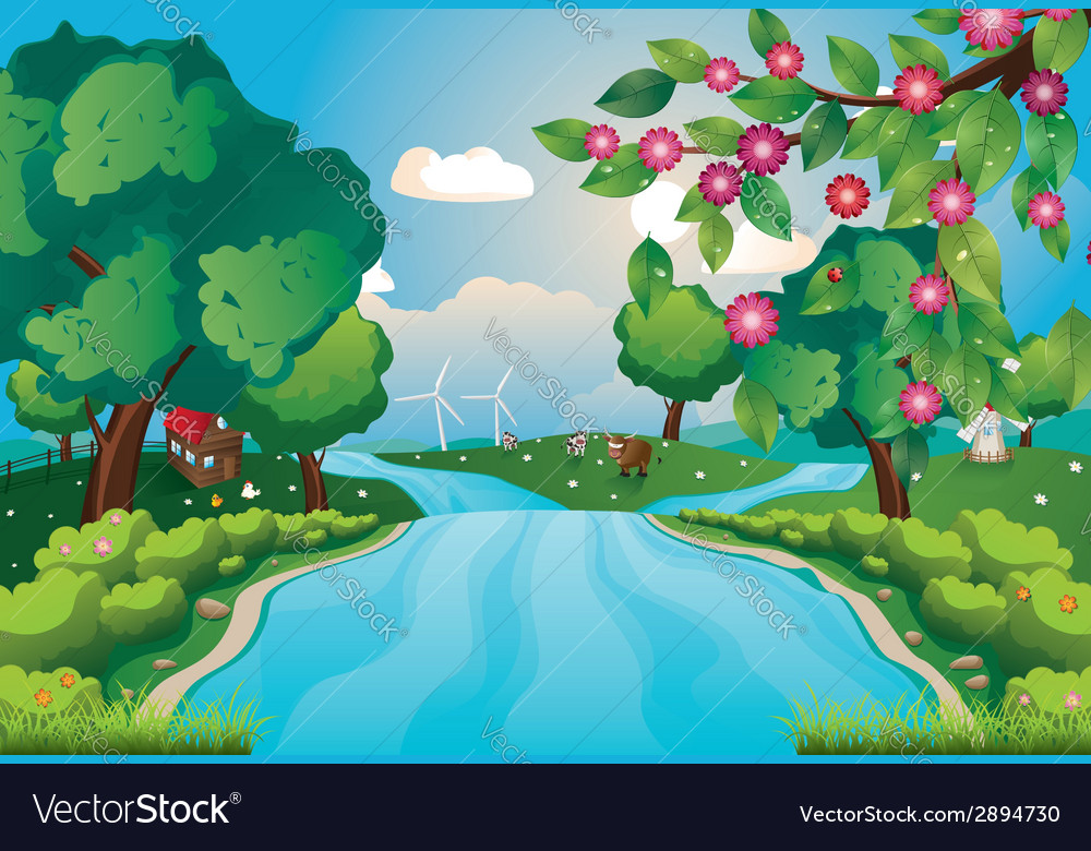 Hills and river3 vector | Price: 1 Credit (USD $1)