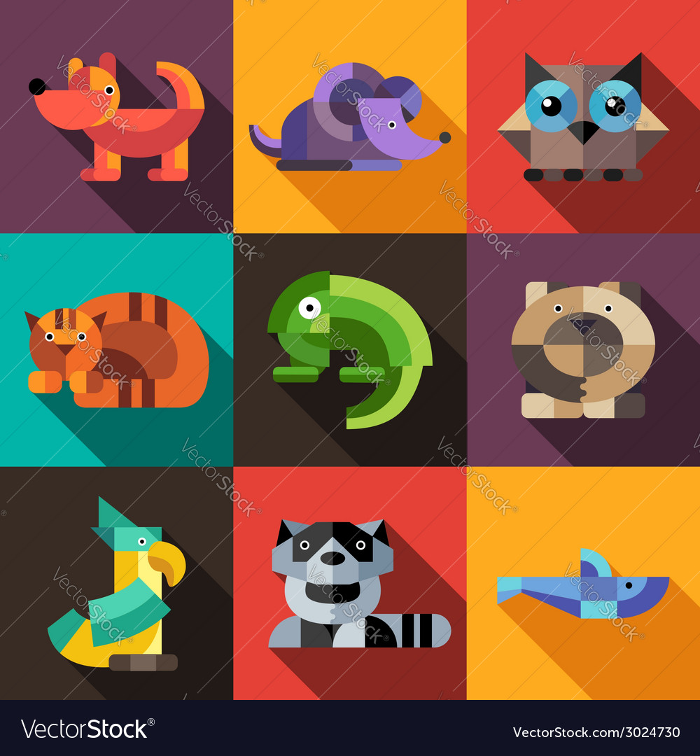 Set of flat design geometric animals icons vector | Price: 1 Credit (USD $1)