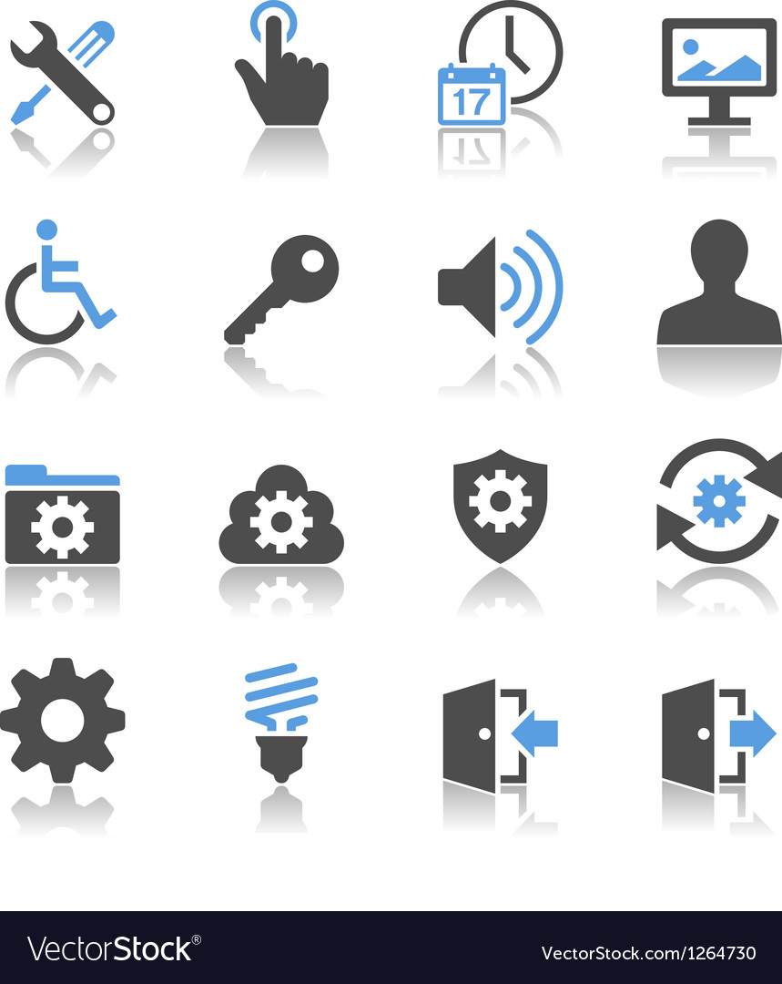 Setting icons reflection vector | Price: 1 Credit (USD $1)