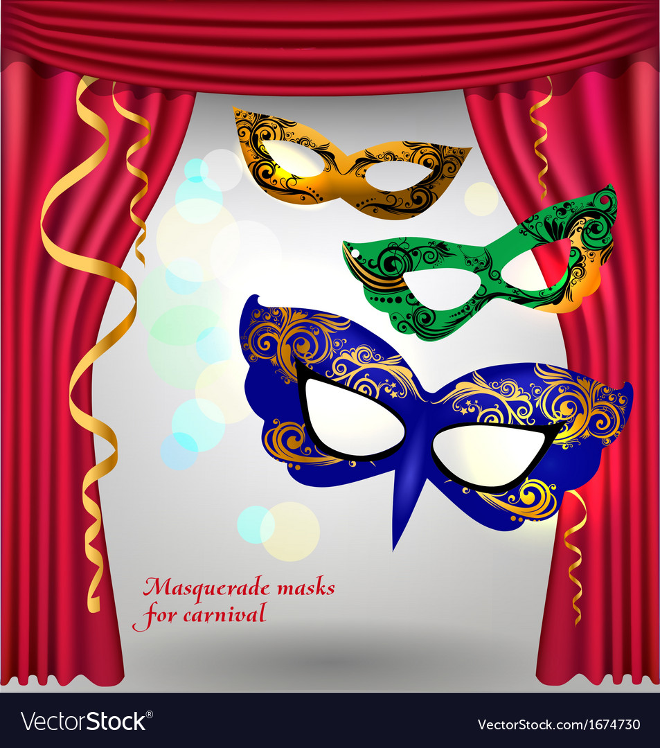 Theater curtains and masks vector | Price: 1 Credit (USD $1)