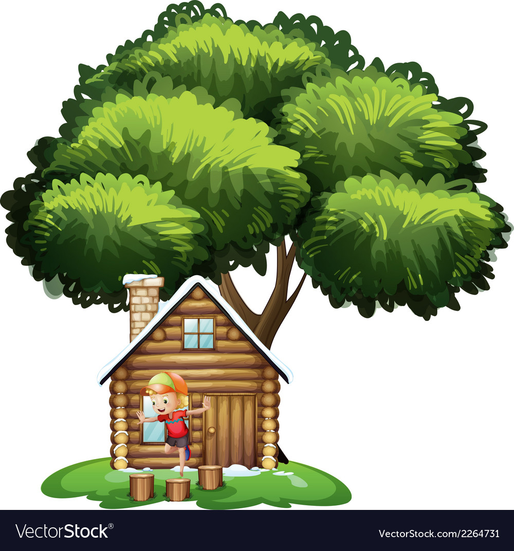 A house under the tree with a little boy playing vector | Price: 1 Credit (USD $1)