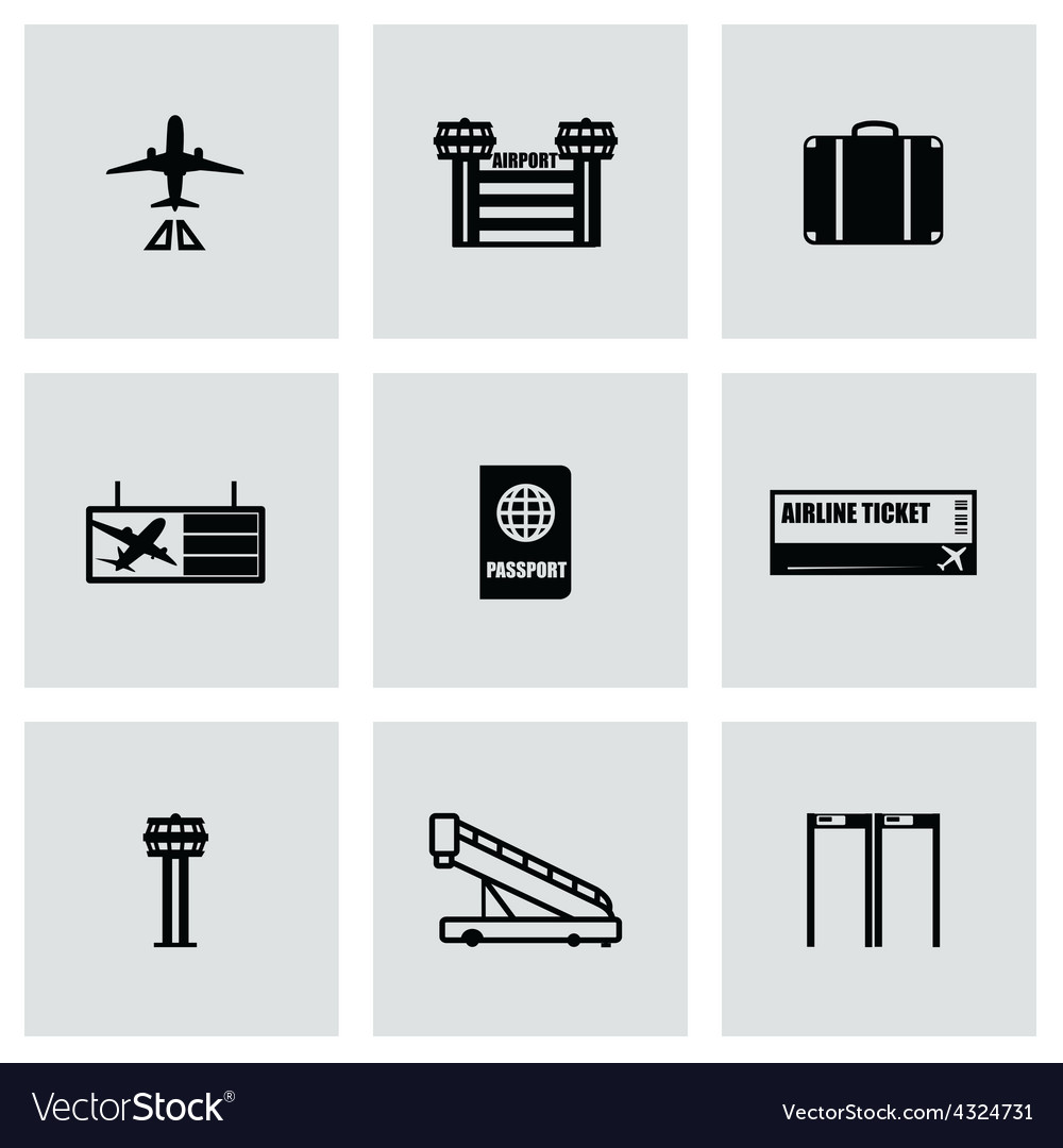 Airport icon set vector | Price: 1 Credit (USD $1)