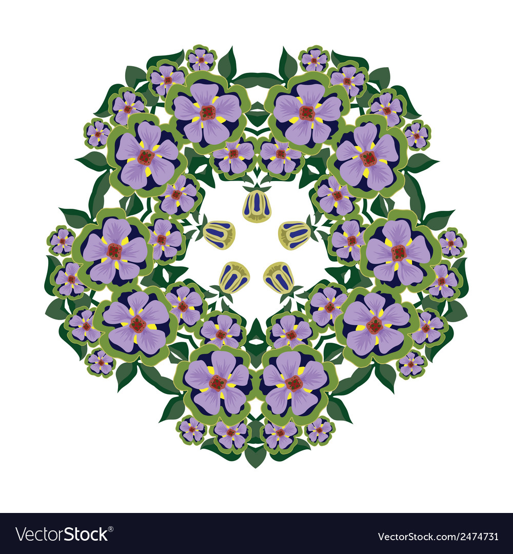 Big bright beautiful wreath of flowers vector | Price: 1 Credit (USD $1)