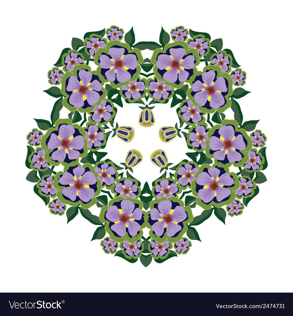Big bright beautiful wreath of flowers vector | Price: 1 Credit (USD $1)