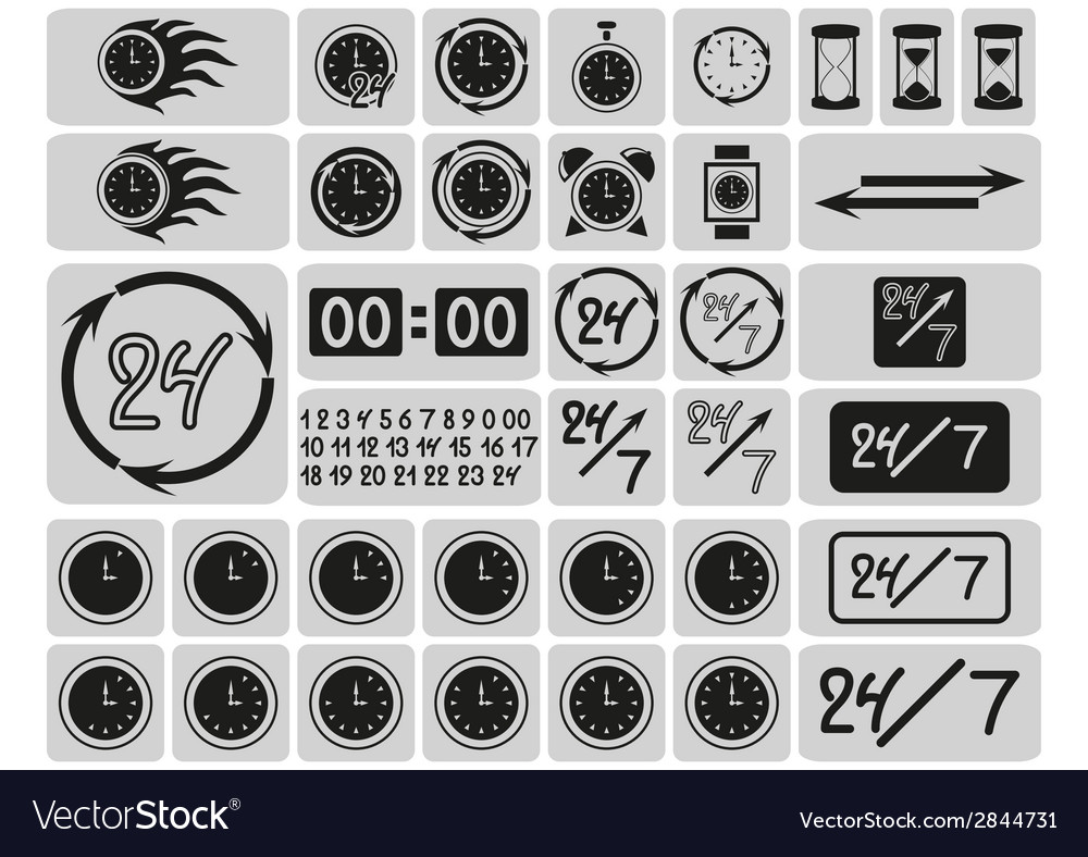 Black clocks icons in the gray squares vector | Price: 1 Credit (USD $1)