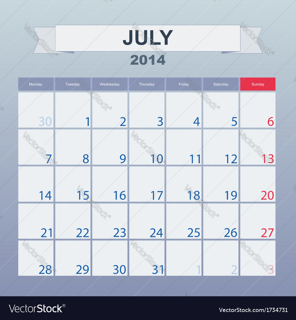 Calendar to schedule monthly july 2014 vector | Price: 1 Credit (USD $1)