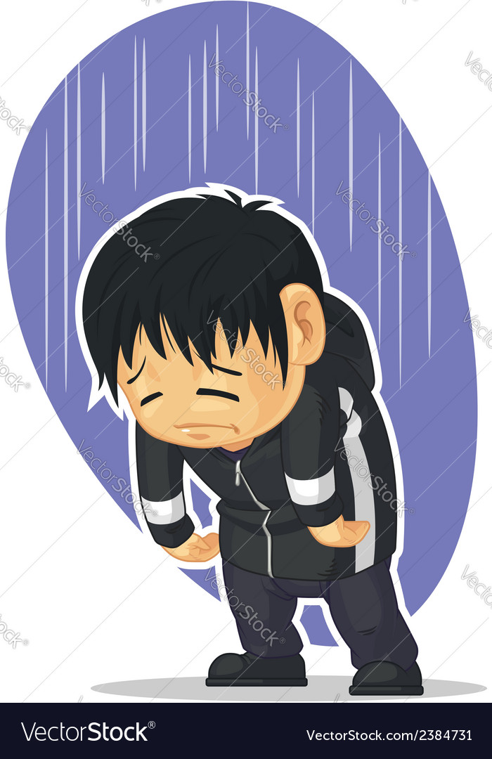 Cartoon of sad boy vector | Price: 1 Credit (USD $1)