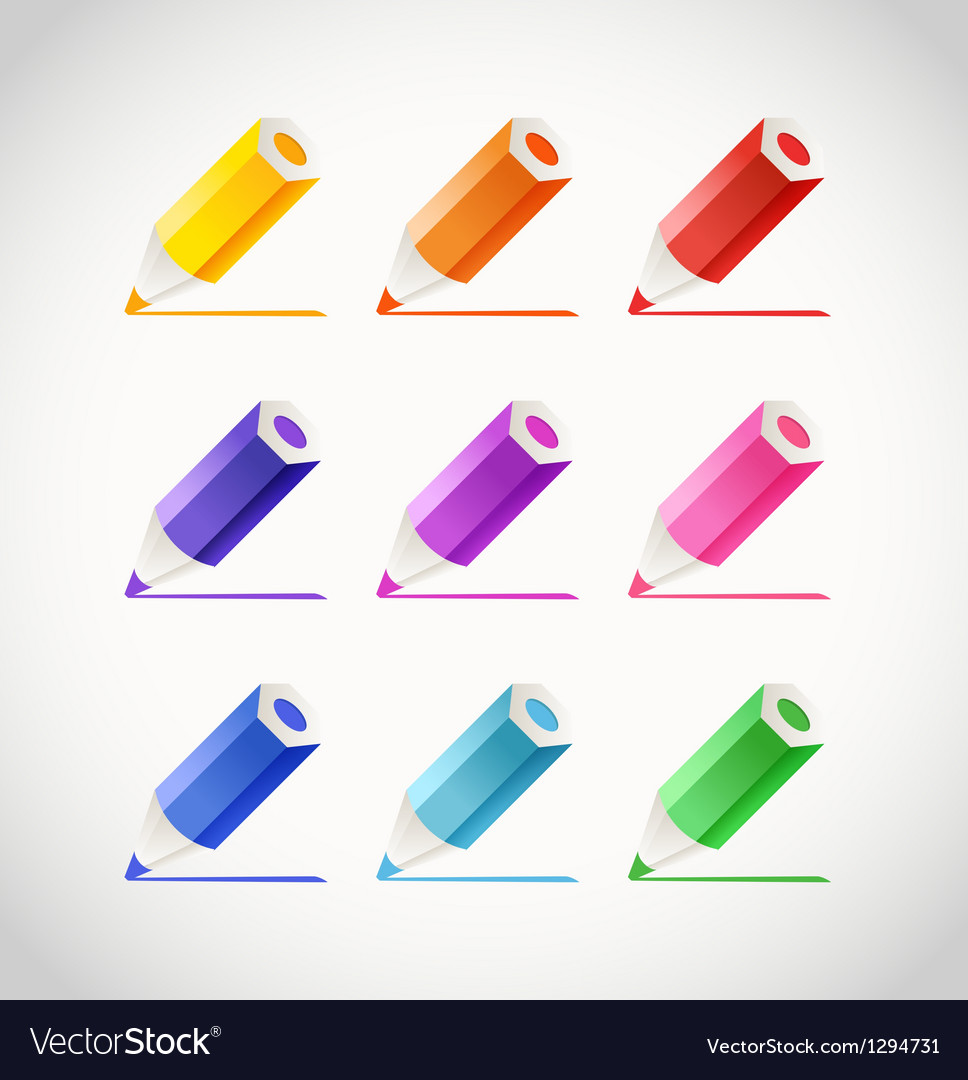 Collection of crayons with color traces vector | Price: 1 Credit (USD $1)