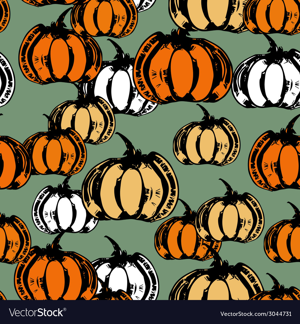 Colorful seamless pattern with pumpkins vector | Price: 1 Credit (USD $1)