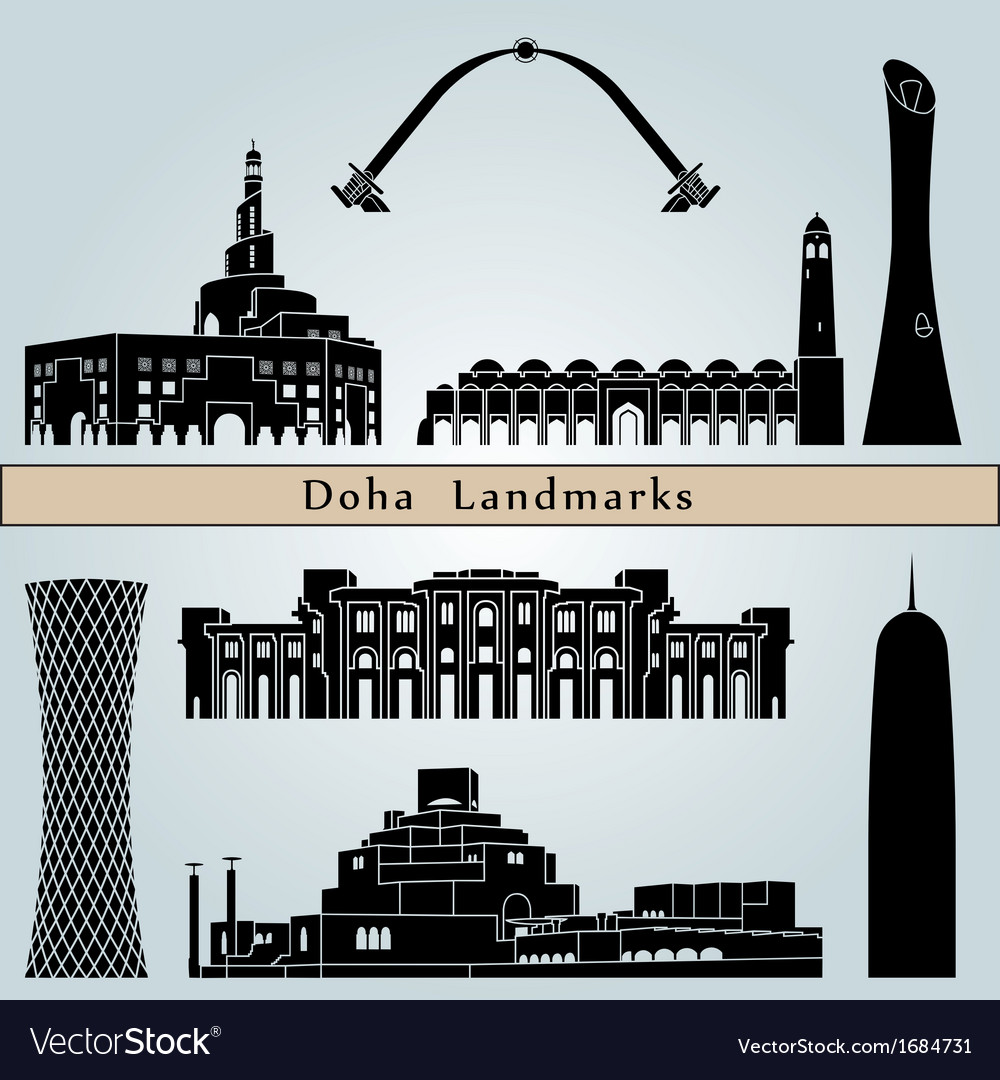 Doha landmarks and monuments vector | Price: 1 Credit (USD $1)